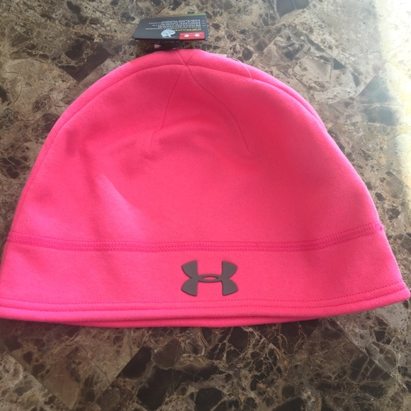 Under Armour Coldgear Infrared Pink Fleece Beanie Youth Girl/'s One Size NWT